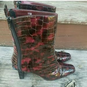 Shoes - Oxblood Red & Black Midcalf Boots